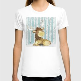 Winter Woodland Friends Deer Moose Snowy Forest Illustration T-shirt