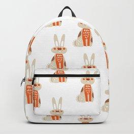 Cute funny hand drawn orange brown vector rabbit pattern Backpack