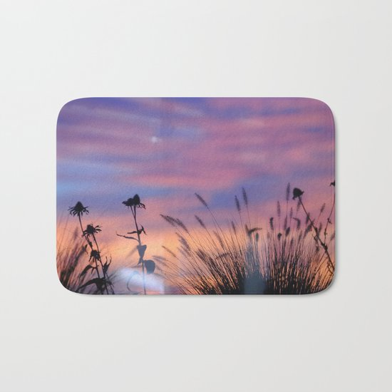 LOOK OUTSIDE - Flowers & Sunset #1 #art #society6 Bath Mat