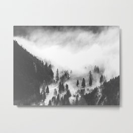 Modern Minimalist Landscape Photo Foggy Mountain Valley Pine Trees Black And White Photo Metal Print