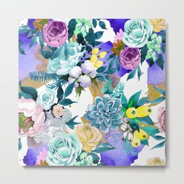 Floral Patterns in Contemporary Designs and Colors Metal Print