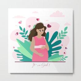 it's a girl! Pregnancy announcement illustration Metal Print