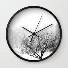 feral fruit tree in snow Wall Clock