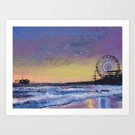 Santa Monica Pier at Sunset - Los Angeles California Art Print