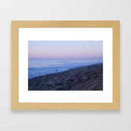 Ventura Shoreline with Full Moon and Sunset Framed Art Print
