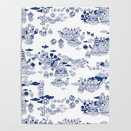 FLOOD IN ANTIQUE CHINESE PORCELAIN Poster