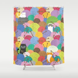 Cute Cats in Balls of Yarn Pattern Shower Curtain
