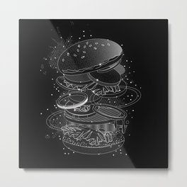 Burger Design made of white contours and stars Metal Print