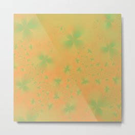 Green Abstract Flowers on Mustard Metal Print