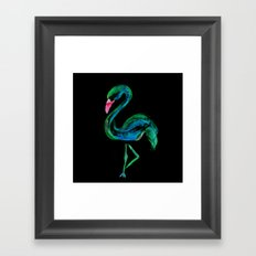 Flamingo black Framed Art Print