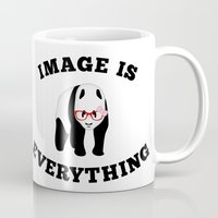 stickers Mugs featuring Panda Hipster by mailboxdisco