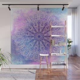 big paisley mandala in light purple Wall Mural