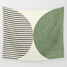 Semicircle Stripes - Green Wall Tapestry