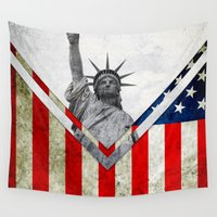 flag Wall Tapestries featuring Flag - USA by Ale Ibanez