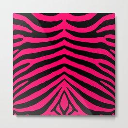 Black and Hot Neon Pink Zebra Animal Safari Stripes Metal Print