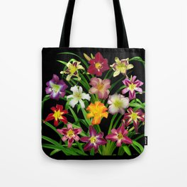 Display of daylilies II on blck Tote Bag