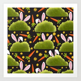 Rabbits and Carrots Pattern | Illustration Art Print