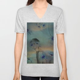 Woman hidden in a world of flowers Unisex V-Neck
