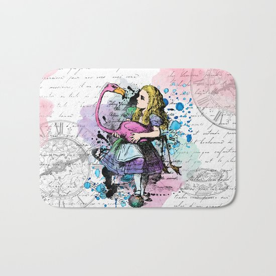 Alice in Wonderland collage Bath Mat