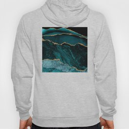 Teal, Gold, and Crushed Jade Agate Marble Design Hoody