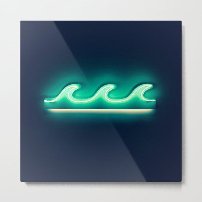 Waves (Neon) Metal Print
