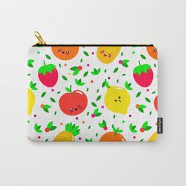 Cute & Whimsical Fruit Pattern with Kawaii Faces Carry-All Pouch