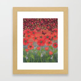 red sky, butterflies, poppies, & snails Framed Art Print