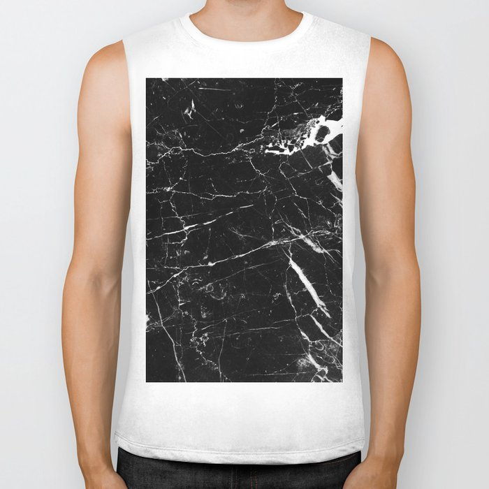 Black and White Marble Biker Tank