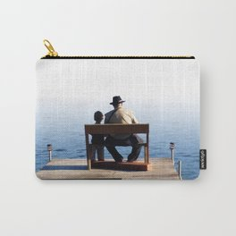 Grandson and Grandfather fishing on the end of a Boat Carry-All Pouch