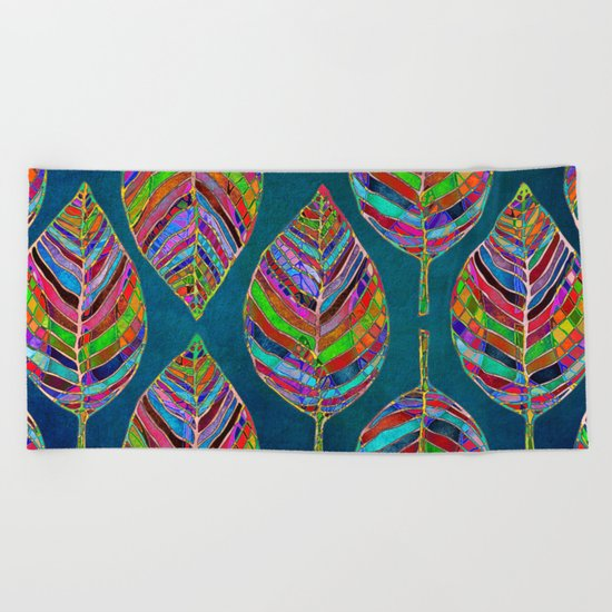 Multicolor Leaf Pattern Beach Towel