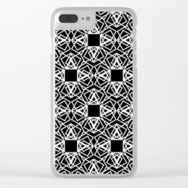 geo lace - white on black Clear iPhone Case