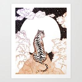 Tiger Moon Glow Art Print