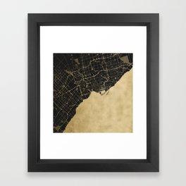Toronto Gold and Black Street Map Framed Art Print