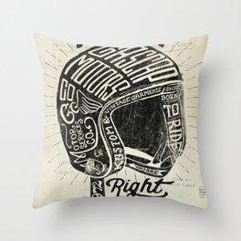 Gascap Motors, Ride it Right Helmet! vintage motorcycles Throw Pillow