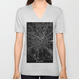 Milan Black Map Unisex V-Neck