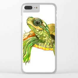 Baby Turtle, Green, Yellow Olive Green Children Clear iPhone Case