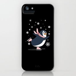 Cute Penguin Ice skating on Ice Field iPhone Case