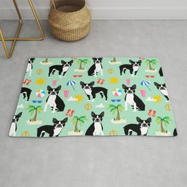 Boston Terrier beach summer vacation dog breed gifts must have boston terriers Rug