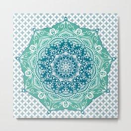 Blue Green Lotus Mandala Metal Print