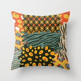 Colorful African Animal Pattern Throw Pillow