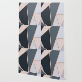 Modern Contemporary Rose Gold Textured Cool Tone Geometric Pattern Wallpaper