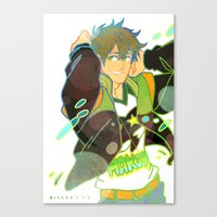 iwatobi Canvas Prints featuring Free! Club Makoto by Alyssa Tye