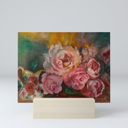 Roses with Cream Pitcher Mini Art Print