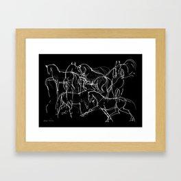 Horses (Movement on black) Framed Art Print