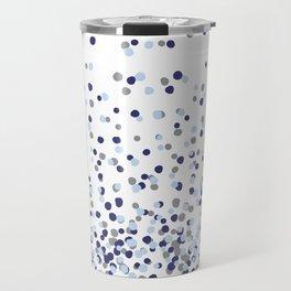Floating Dots - Gray and Blues on White Travel Mug