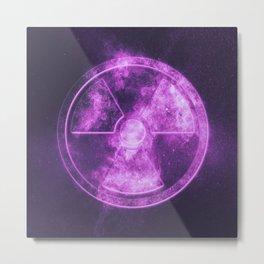 Radiation sign, Radiation symbol. Abstract night sky background Metal Print