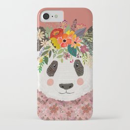 Cut Panda Bear with flower crown. Cute decor for kids iPhone Case