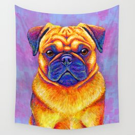 Colorful Rainbow Pug Portrait Wall Tapestry