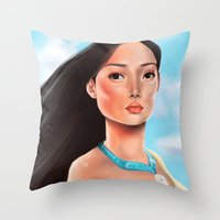 pocahontas Throw Pillows featuring Pocahontas by Sam Pea
