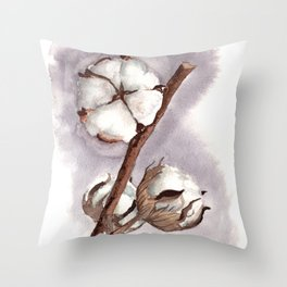 Cotton flower gray background Throw Pillow